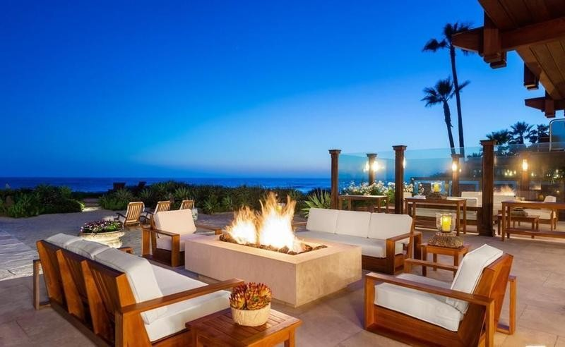 Outdoor firepit by beach