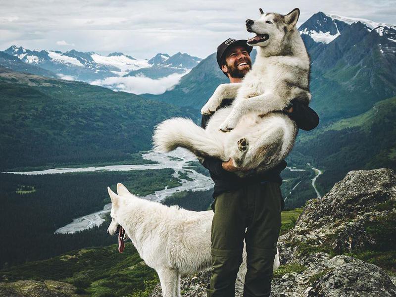 Adventure blogger with Loki the Wolfdog