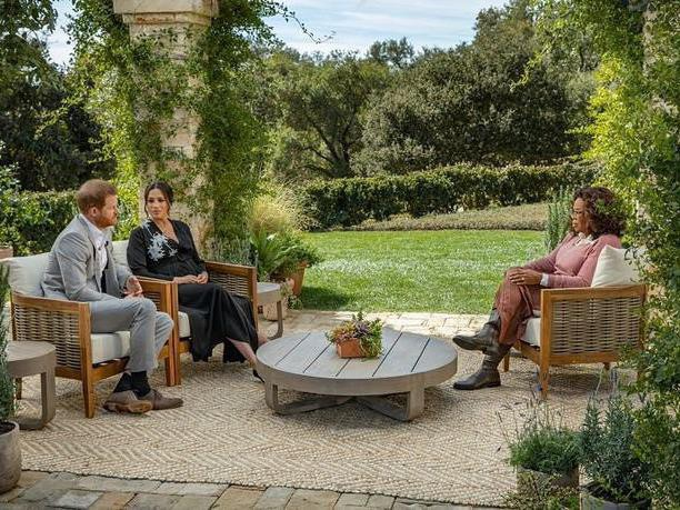 Prince Harry and Meghan Markle in an interview with Oprah