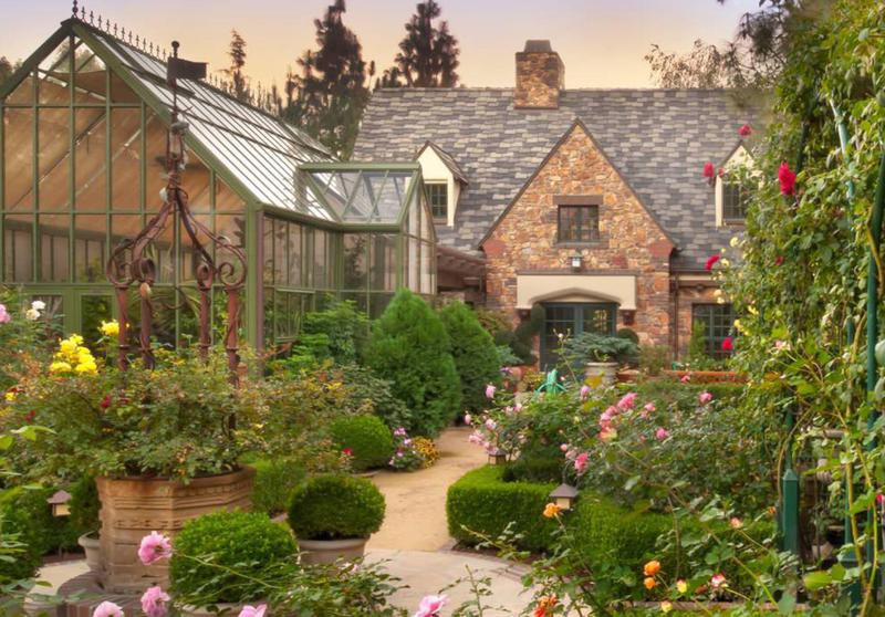 Victorian-style gardens and Tudor house