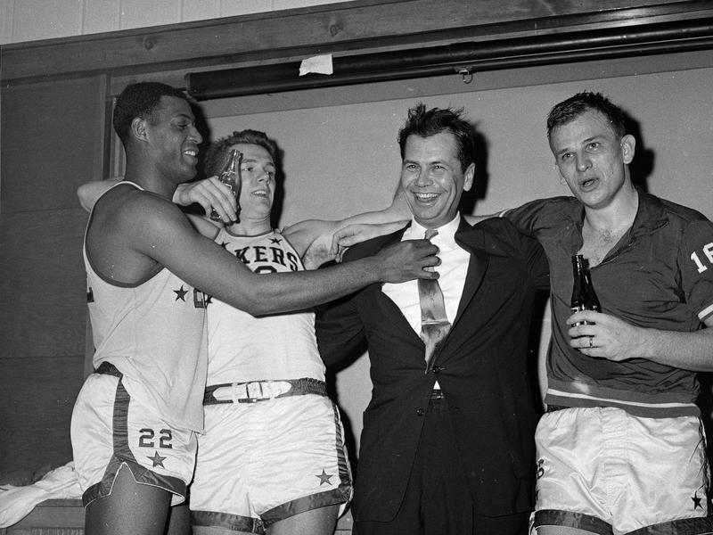 Elgin Baylor, Hot Rod Hundley, Johnny Kundla, Dick Garmaker