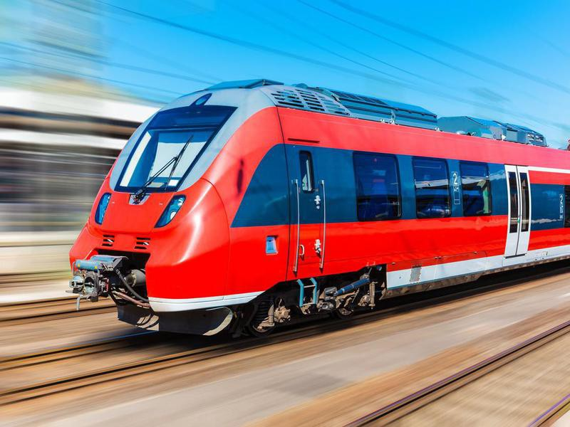 Red high-speed train in Italy