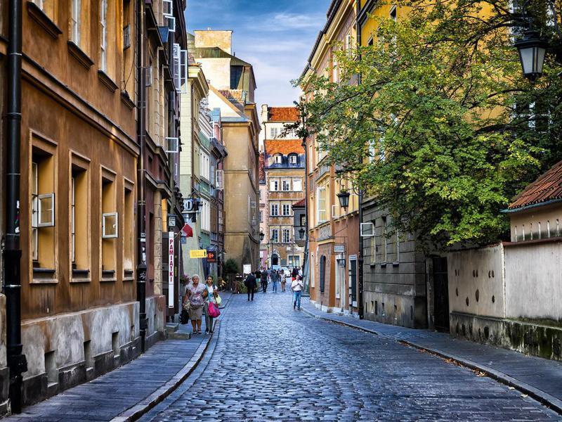 Autumn view of the Waski Dunaj street in Warsaw's Old Town, Poland