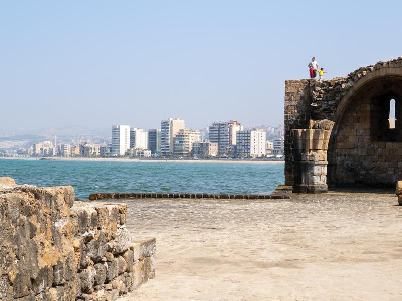 Arab family sightseeing in Sidon, Lebanon