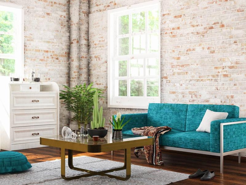 Exposed brick living rooms can be appealing to home buyers