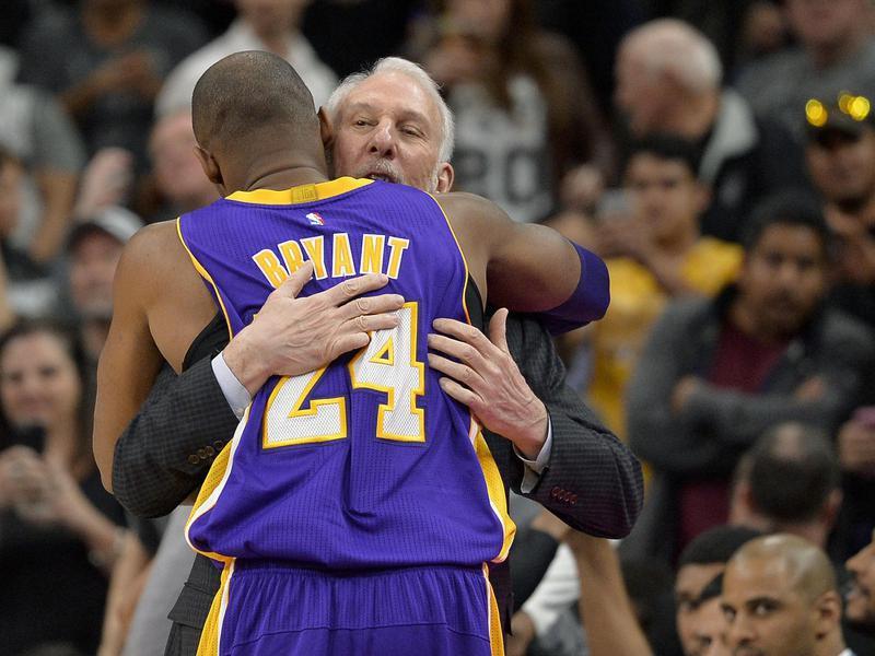 Gregg Popovich and Kobe Bryant