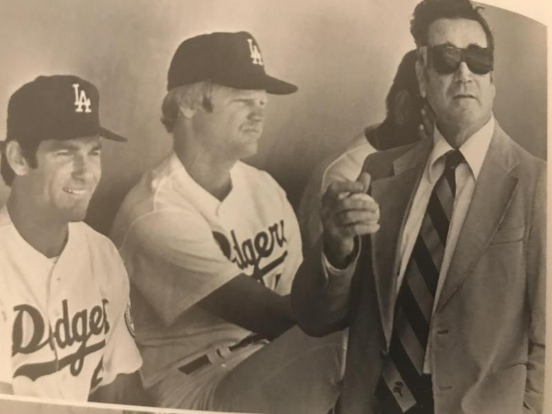 Jim Murray in Dodgers dugout