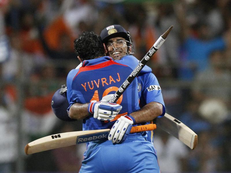 Yuvraj Singh and Mahendra Singh Doni