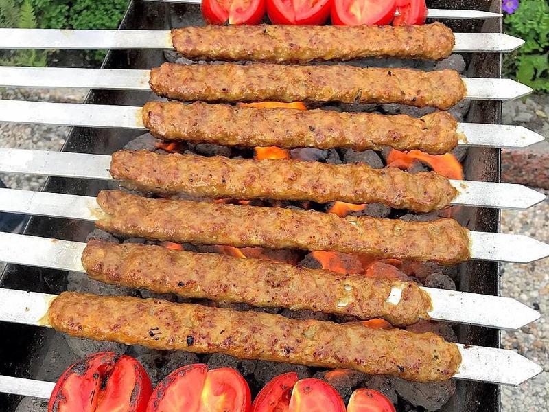 Koobideh kebab on the grill