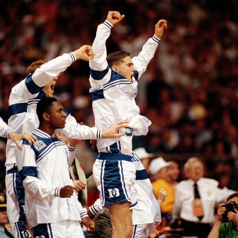 Duke bench celebrates