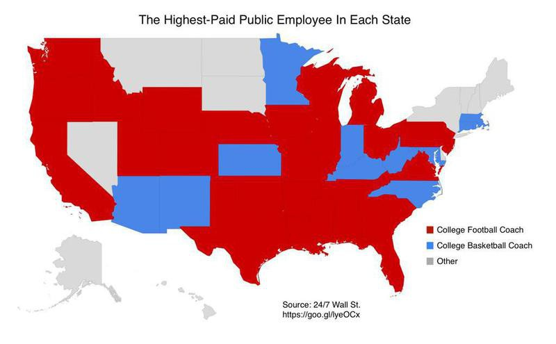 Highest-paid state employee map