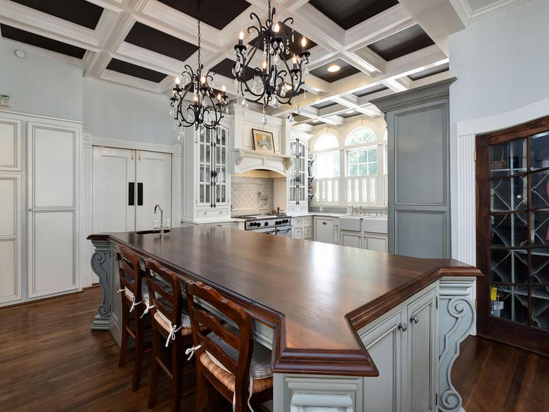 Kitchen with large center island, coffered ceiling