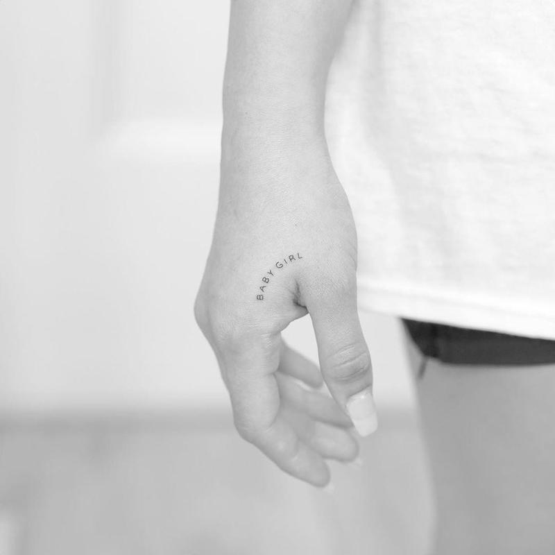 """Baby Girl"" Fine Line Tattoo"