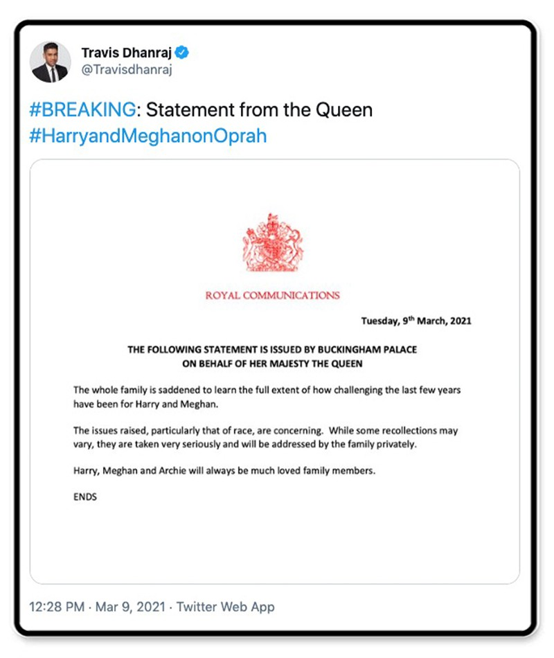 Statement from Queen Elizabeth
