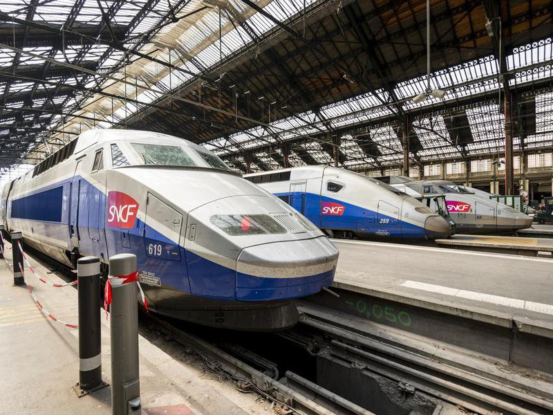 TGV trains parked at Gare de Lyon Station