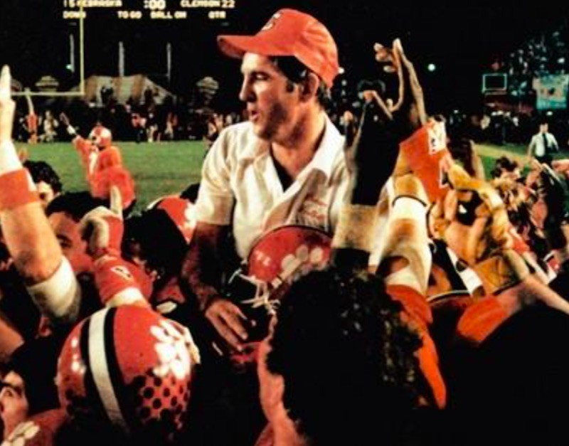 1981 Clemson Tigers celebrating with coach