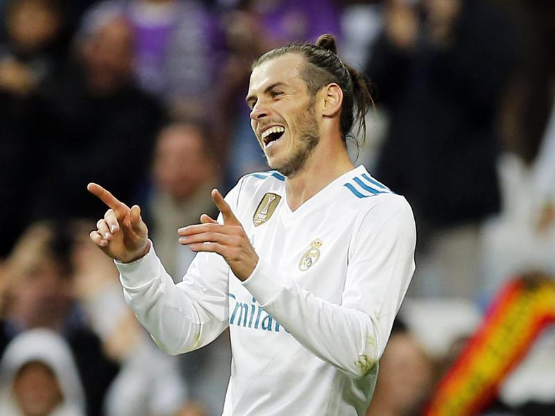 Real Madrid's Gareth Bale celebrates after scoring during a Spanish La Liga match versus Celta.
