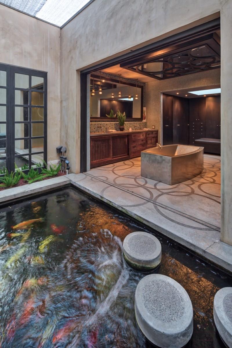 Koi pond and bathroom