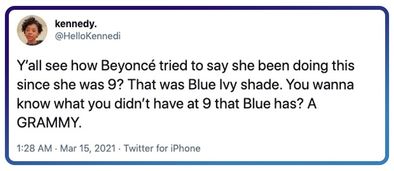 Beyoncé with some Blue Ivy shade?