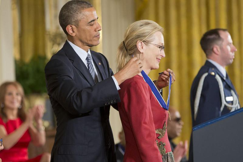 President Barack Obama and Meryl Streep