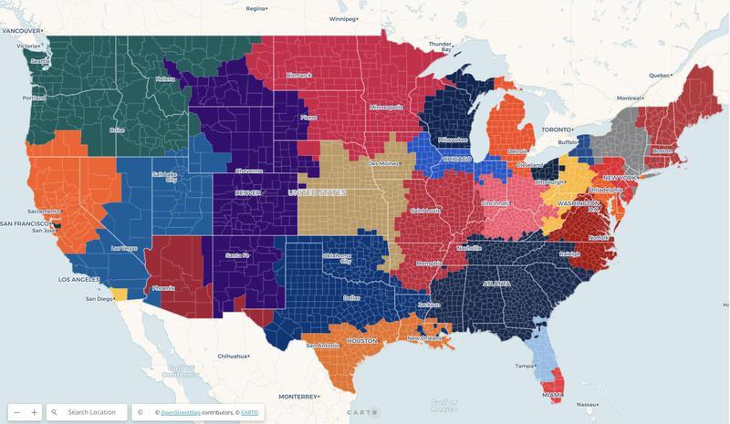 MLB fandom map