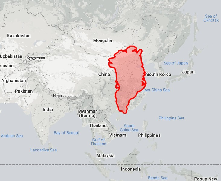 Greenland compared to China
