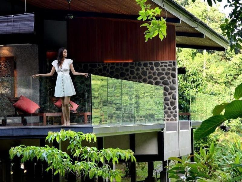 Woman in luxury eco resort in Borneo