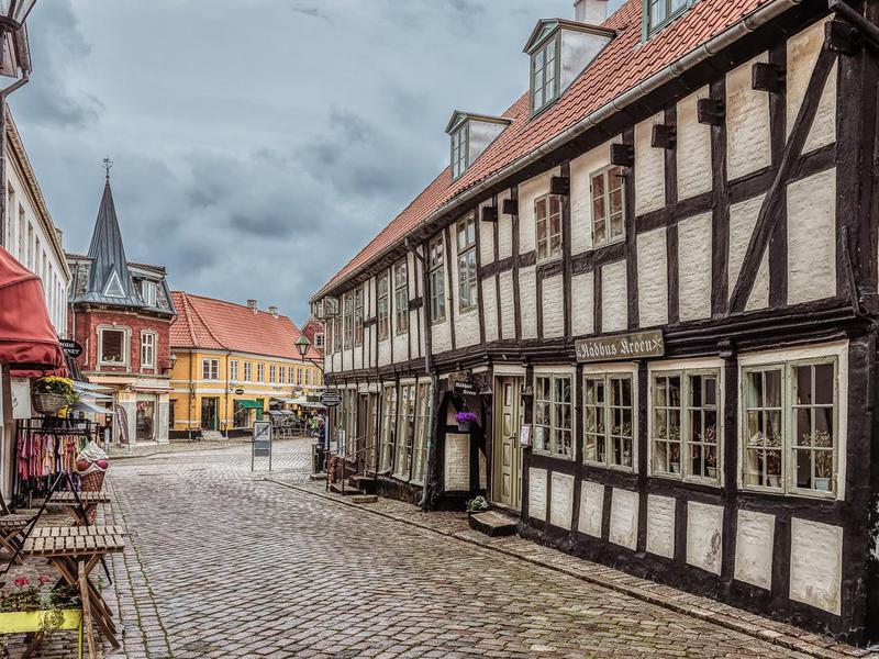 Ebeltoft historic old town in Denmark