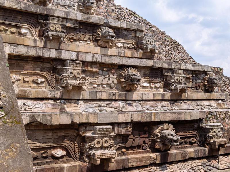 Pyramid of Quetzalcoatl in Teotihuacan mexico