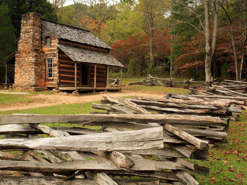 Wood cabin in Great Smoky Mountains National Park