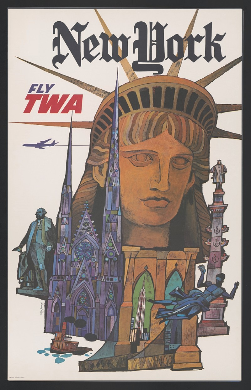Vintage travel poster for TWA