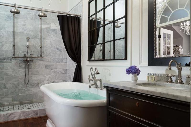 Bathroom with white soaking tub
