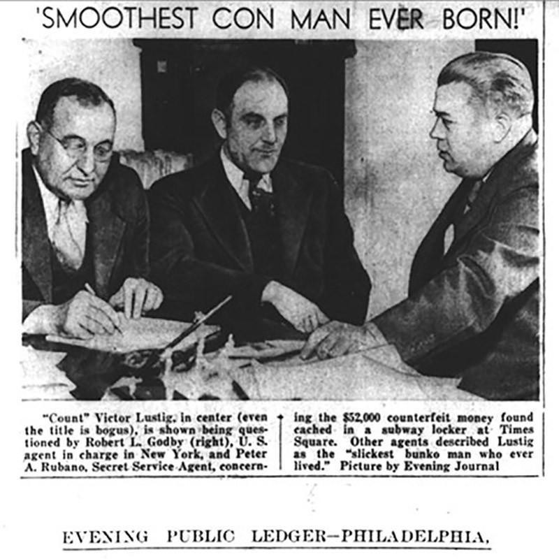 Newspaper Clipping of Victor Lustig (center)