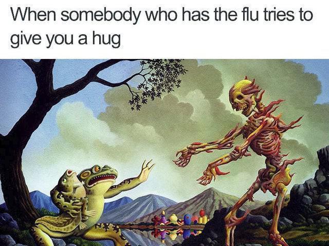 Scared frog meme