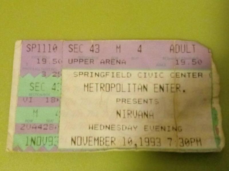 Nirvana concert ticket stub