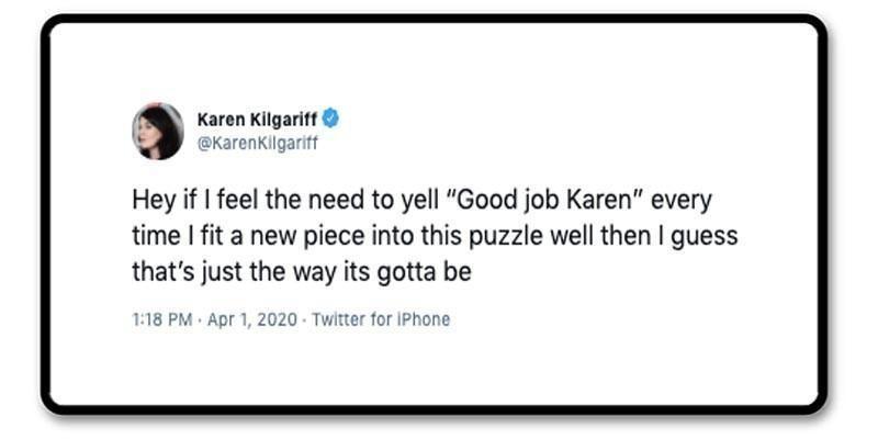 Karen Gilgariff's tweet about self-talk