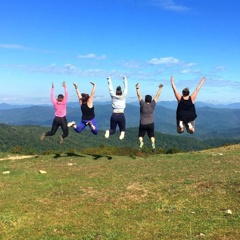 Group of women hiking in Asheville