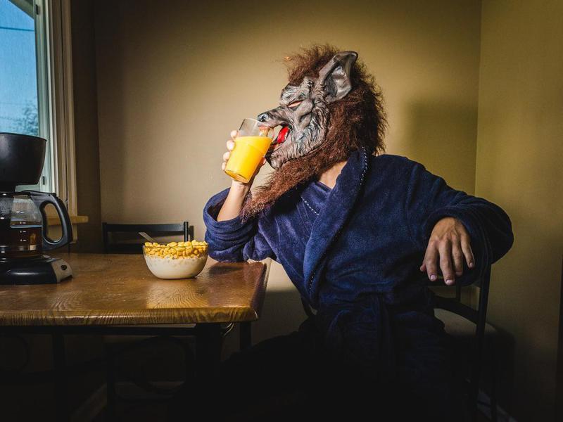 Werewolf eating breakfast