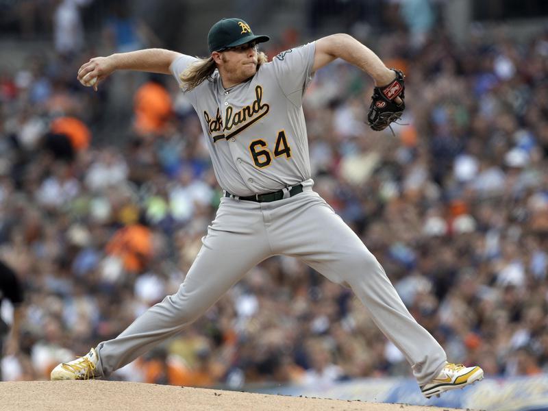 Oakland Athletics pitcher A.J. Griffin throws against Detroit Tigers