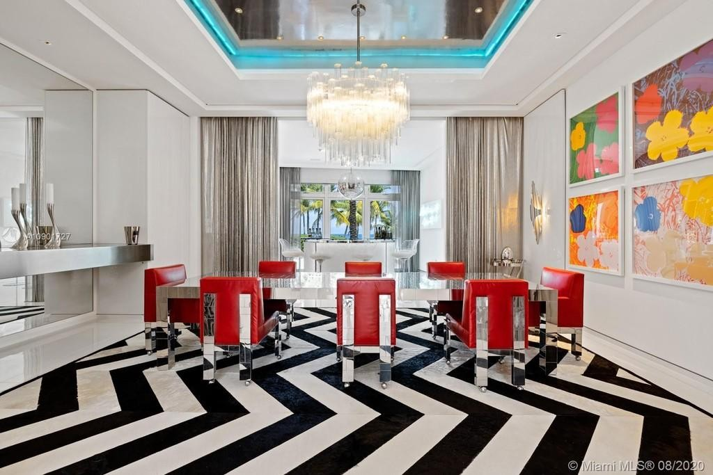 Black-and-white-and-red dining room