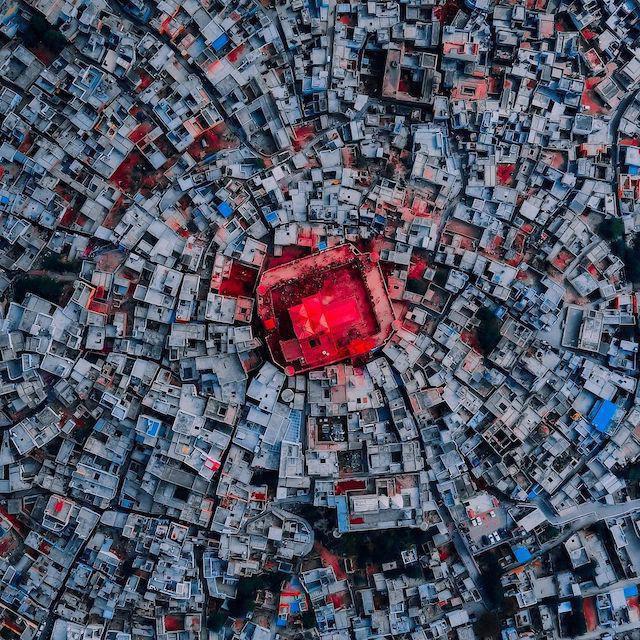 Aerial view of Uttar Pradesh during Holi