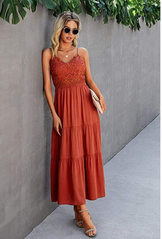 Dokuritu Women's Beach Crochet Lace Maxi Dress