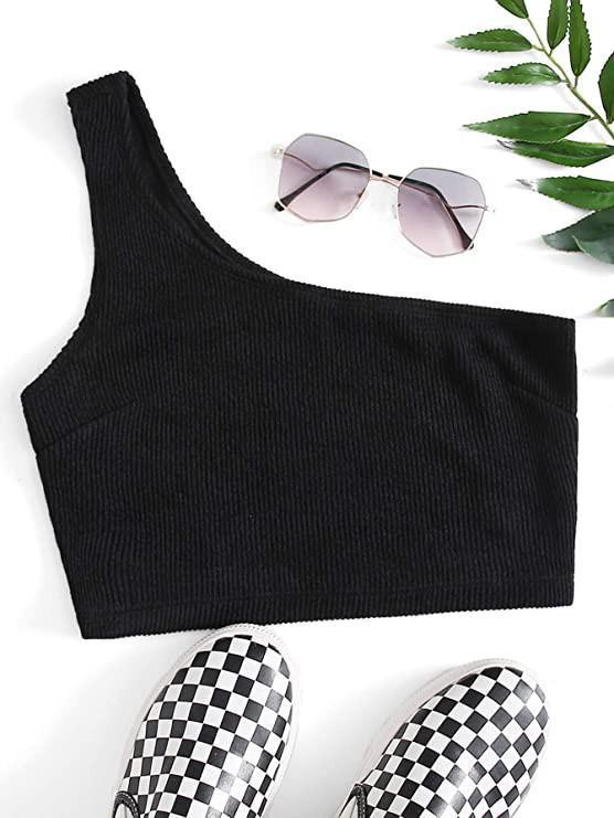 SheIn Women's Plain One Shoulder Stretchy Ribbed Knit Crop Top