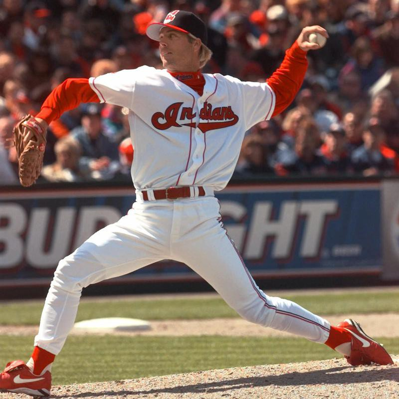 Mark Langston pitches for Cleveland Indians