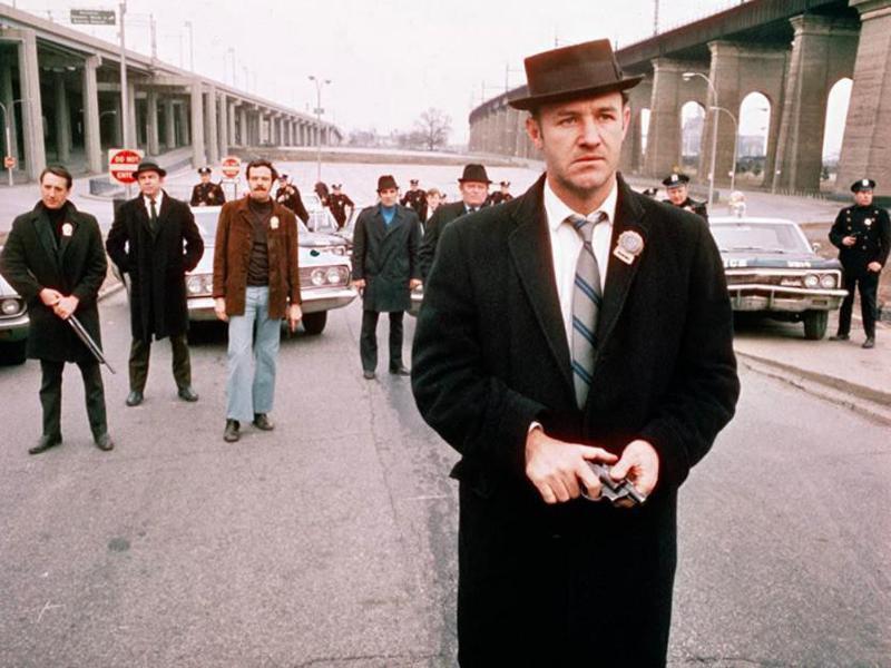 Gene Hackman, William Friedkin, Roy Scheider, Eddie Egan, and Bill Hickman in The French Connection