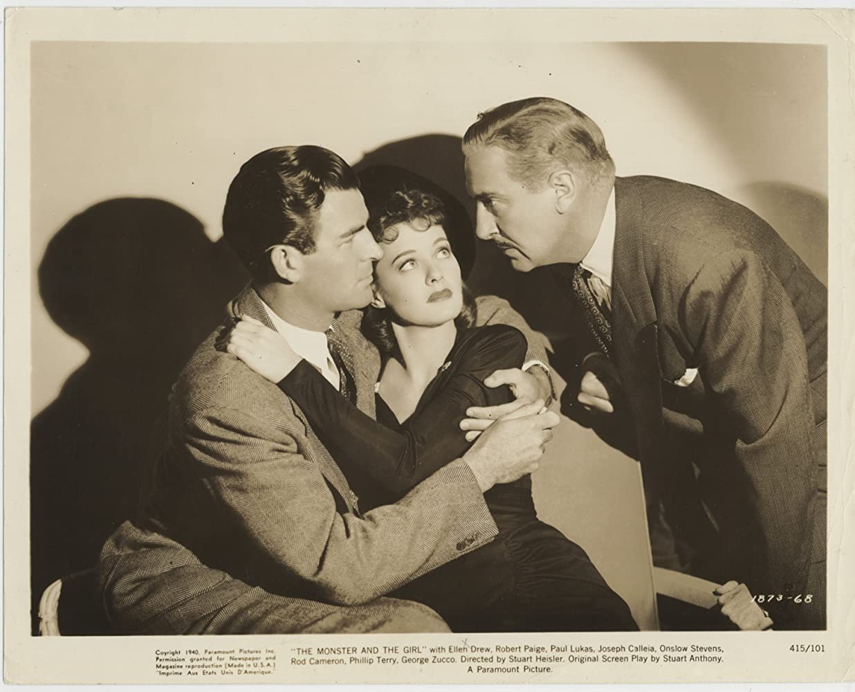 """A production still of Rod Cameron, Ellen Drew and Paul Lukas in """"The Monster and the Girl"""""""