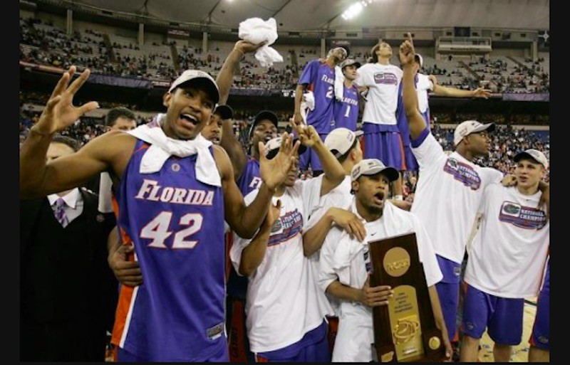 Florida Gators celebrate with trophy