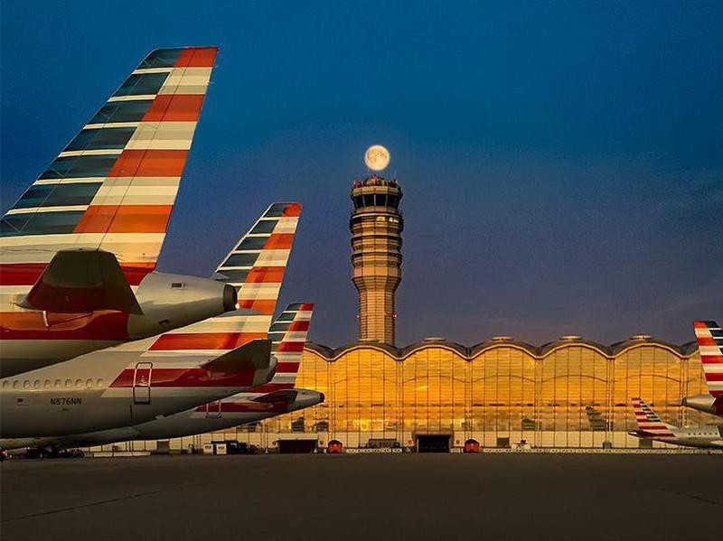 American Airlines aircrafts at night