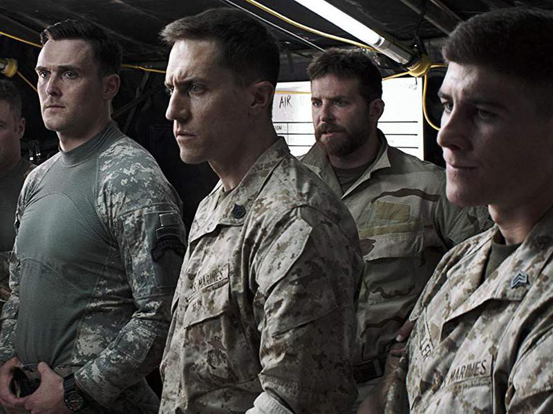 Bradley Cooper, Cory Hardrict, Owain Yeoman, Joel Lambert, Tony Nevada, and Brett Edwards in American Sniper (2014)