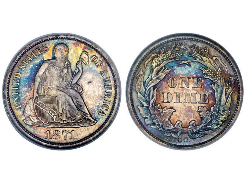 1871 CC Seated Liberty Dime